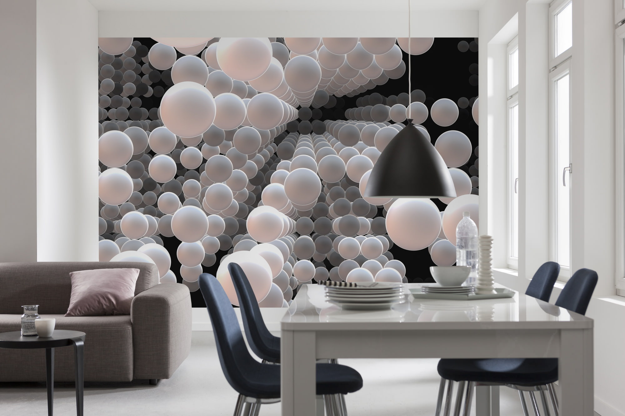 fototapete 3d spherical abstrakte kreise circle sunnywall online shop. Black Bedroom Furniture Sets. Home Design Ideas