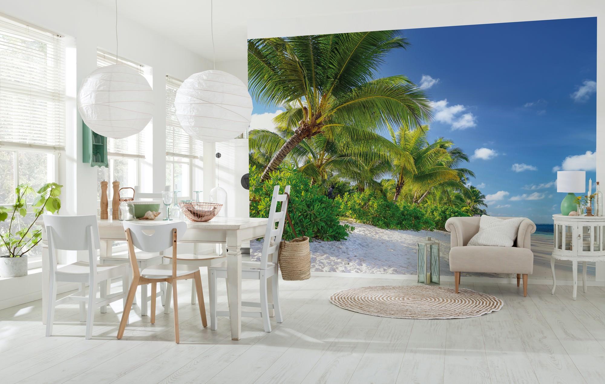 fototapete reunion palmen im wind strand sunnywall online shop. Black Bedroom Furniture Sets. Home Design Ideas