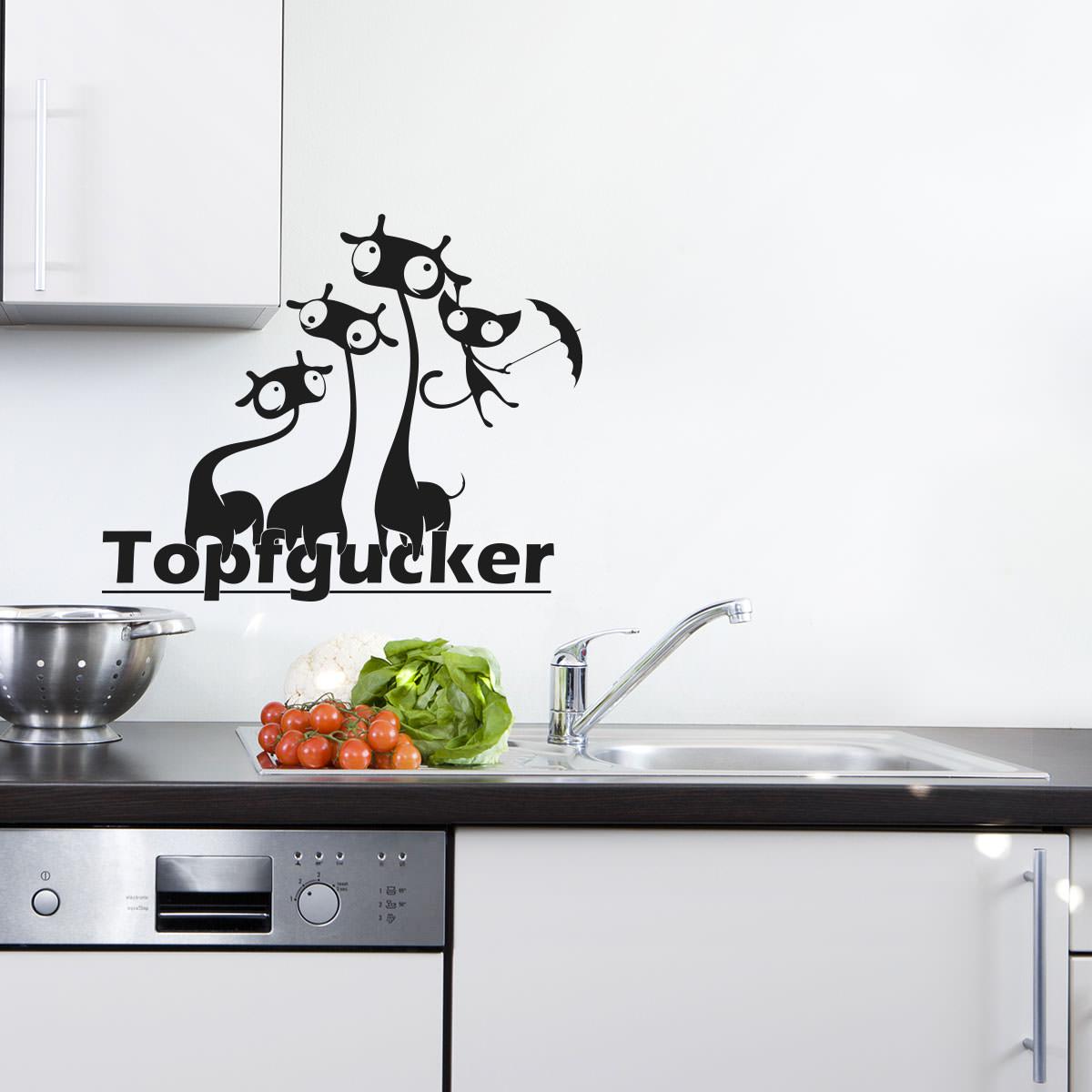 Wandtattoo Topfgucker Katze Giraffe | Wandaufkleber | Wandfolie |  Wanddekoration | Wandmotiv