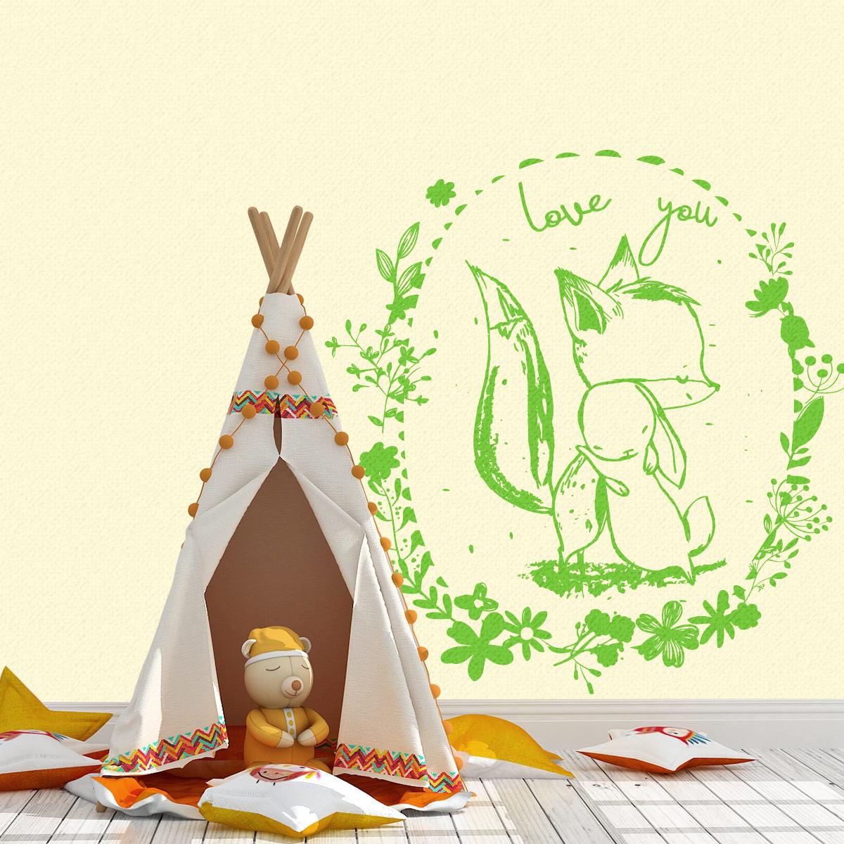 Wandtattoo Fuchs Hase Fox Rabbit In Love Wandaufkleber