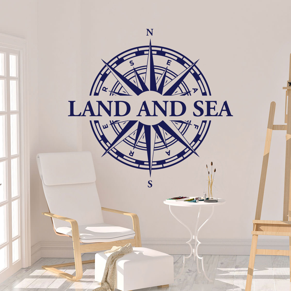 Wandtattoo maritim nautical kompass land and sea wandaufkleber wanddekoration wandmotiv - Wandtattoo maritim ...
