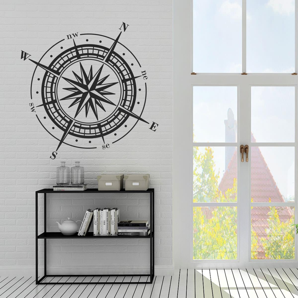 Wandtattoo maritim nautical kompass compass - Wandtattoo kompass ...