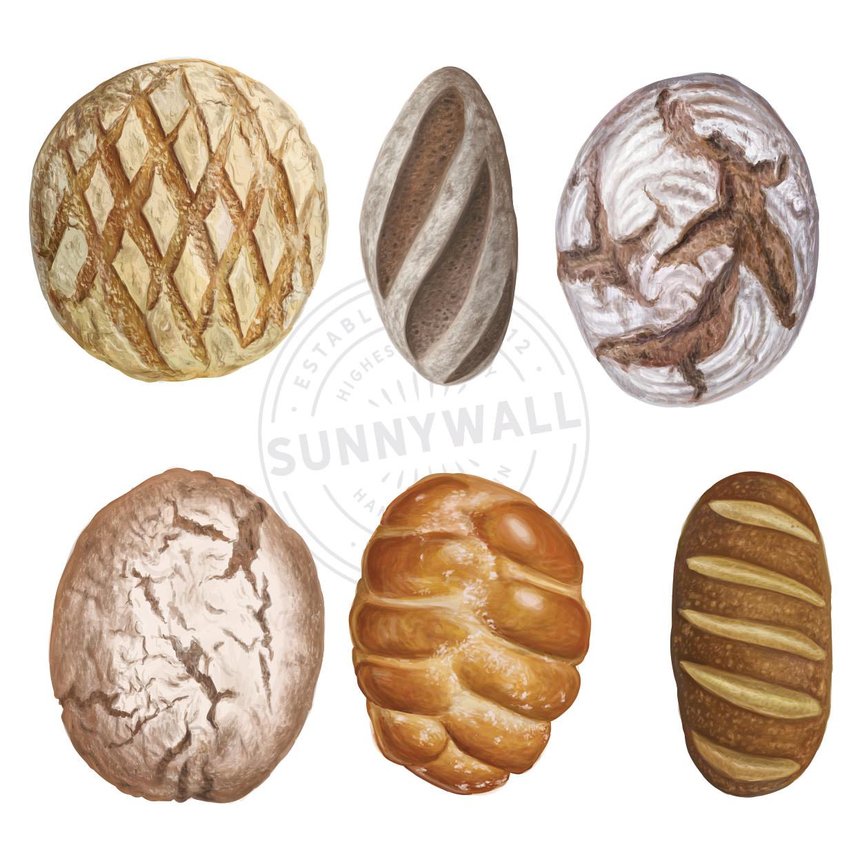 Wandtattoo Aufkleber Wandsticker Kuche Genuss 6 Motive Backwaren Brot Sunnywall