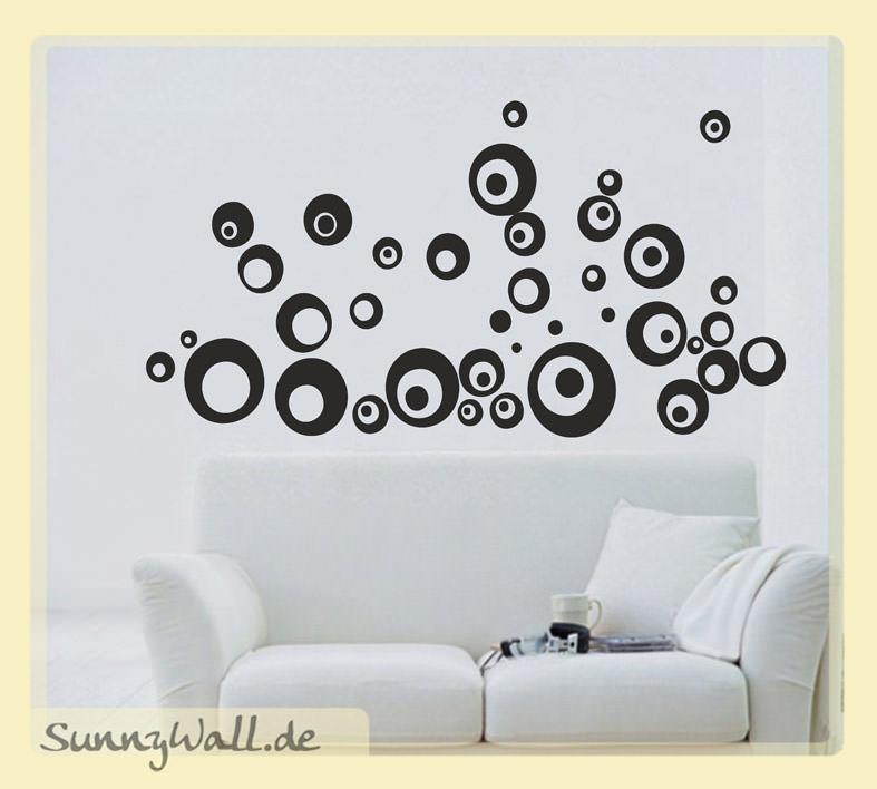 Retro-Look Balls Dots für Wohnzimmer & Wohnbereich Wandtattoo ...