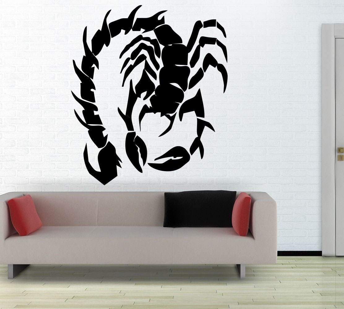 wandtattoo skorpion tribal f r wohnzimmer wohnbereich wandtattoo sunnywall. Black Bedroom Furniture Sets. Home Design Ideas