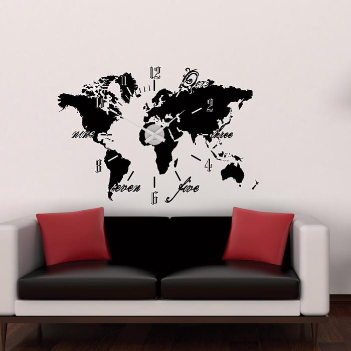 wandtattoo uhr weltkarte sunnywall online shop. Black Bedroom Furniture Sets. Home Design Ideas
