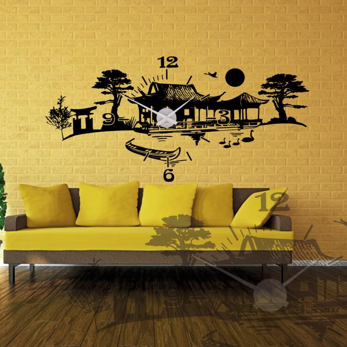 wandtattoo uhr asiatisch asien landschaft sunnywall. Black Bedroom Furniture Sets. Home Design Ideas