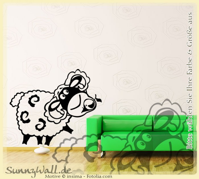 Wandtattoo schaf sheep wolle vers3 sunnywall online shop for Wandtattoo schaf kinderzimmer