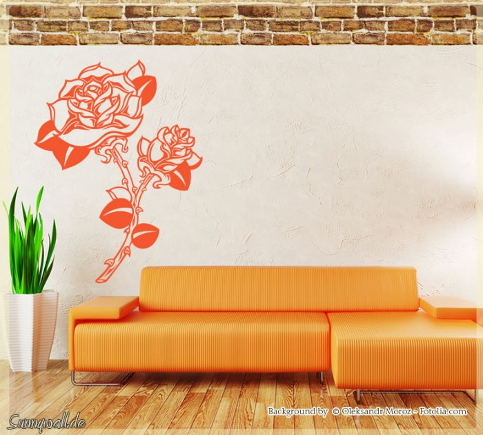 wandtattoo rosenranke rose ranke blumenranke iii blume bl te sunnywall online shop. Black Bedroom Furniture Sets. Home Design Ideas