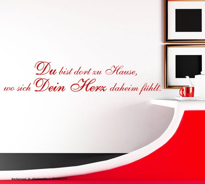 wandtattoo du bist dort zu hause wo sich dein herz. Black Bedroom Furniture Sets. Home Design Ideas