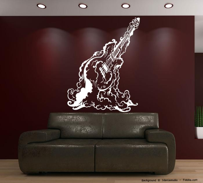 wandtattoo country rock guitar gitarre sunnywall online shop. Black Bedroom Furniture Sets. Home Design Ideas