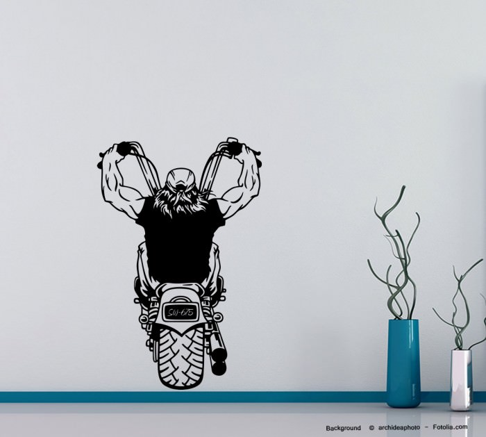 wandtattoo biker rocker motorrad bike motorcycle motorbike 675 ebay. Black Bedroom Furniture Sets. Home Design Ideas