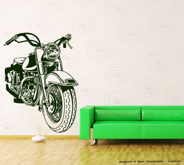 wandaufkleber motorrad motorcycle motorbike sunnywall. Black Bedroom Furniture Sets. Home Design Ideas