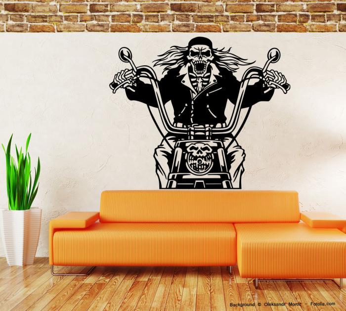 wandaufkleber motorrad motorcycle motorbike tod skelett. Black Bedroom Furniture Sets. Home Design Ideas