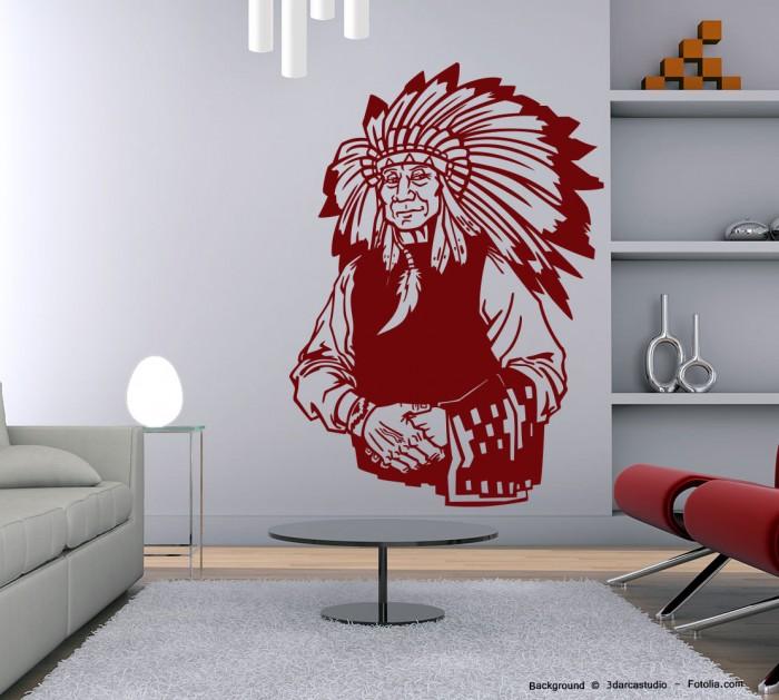 wandtattoo wandaufkleber indianer amerika h uptling ii sunnywall online shop. Black Bedroom Furniture Sets. Home Design Ideas